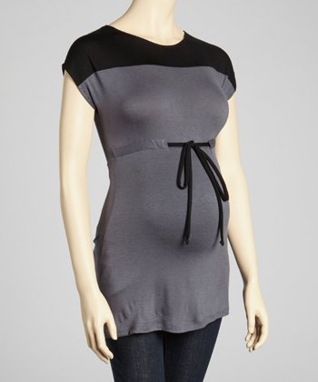 Grey & Black Color Block Maternity Short-Sleeve Top