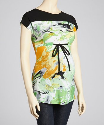 Green & Black Watercolor Maternity Short-Sleeve Top