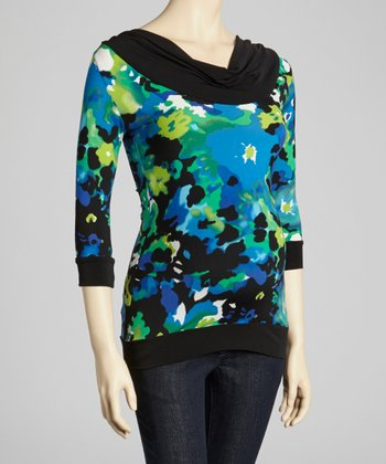 Blue Floral Maternity Three-Quarter Sleeve Top