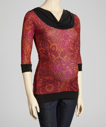 Fuchsia Paisley Maternity Three-Quarter Sleeve Top
