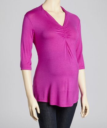 Fuchsia Cinch Maternity Three-Quarter Sleeve Top