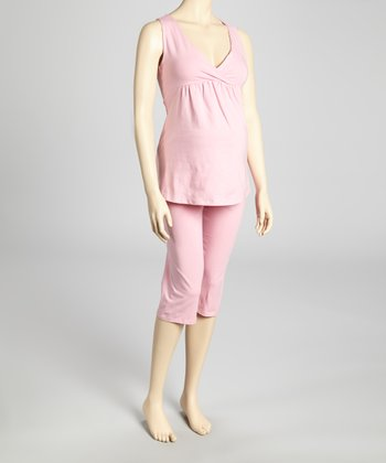 Pink Maternity & Nursing Pajamas - Women