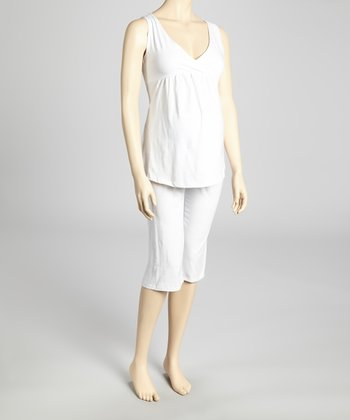White Maternity & Nursing Pajamas - Women