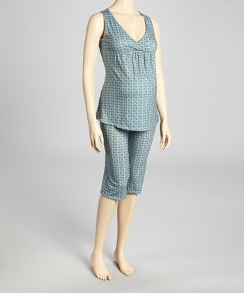 Light Blue Maternity & Nursing Pajamas - Women