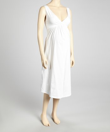 White Maternity & Nursing Nightgown - Women