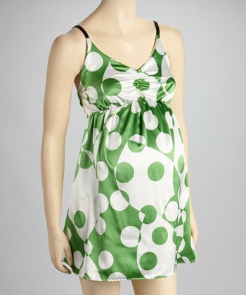 Green Dot Silk Maternity Chemise - Women
