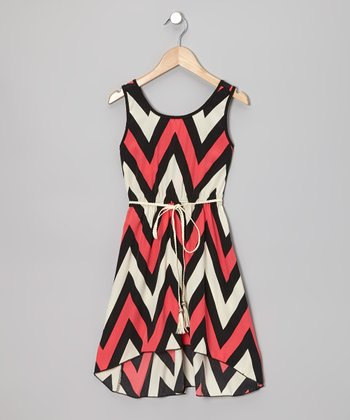 Coral & Black Zigzag Dress