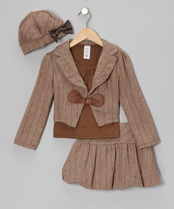 Brown Jacket Set - Girls