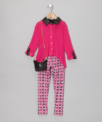 Fuchsia Button-Up Set