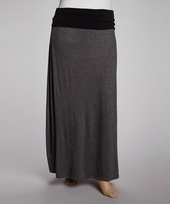 Charcoal & Black Fold-Over Maxi Skirt - Plus