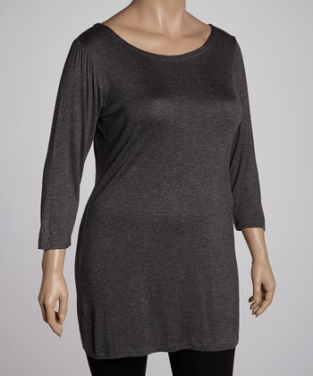 Charcoal Three-Quarter Sleeve Tunic - Plus