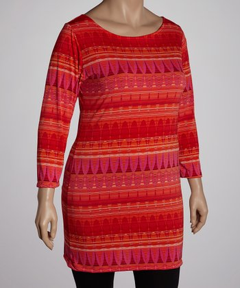 Orange & Red Three-Quarter Sleeve Tunic - Plus