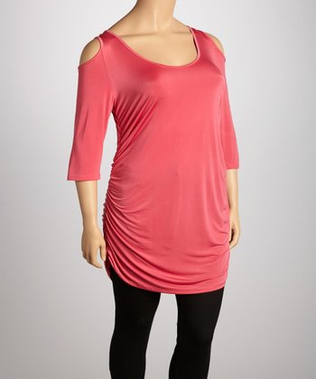 Coral Ester Cutout Top - Plus