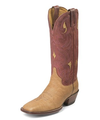 Maroon & Tan Pecan Shoulder Boot - Women