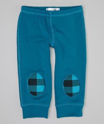 Turquoise & Black Squeaker Leggings - Infant