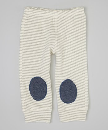 Gray & White Stripe Squeaker Leggings - Infant