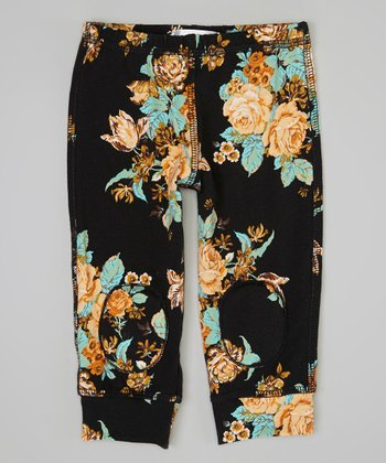 Black & Peach Floral Squeaker Leggings - Infant