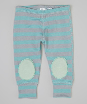 Blue & Mint Stripe Squeaker Leggings - Infant