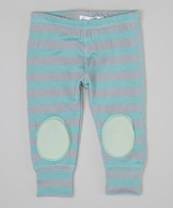 Blue & Mint Stripe Squeaker Leggings - Infant