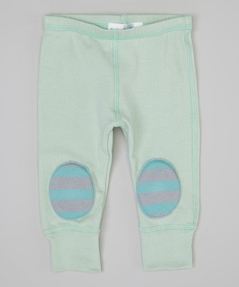 Mint & Gray Stripe Squeaker Leggings - Infant