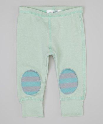 Mint & Gray Stripe Squeaker Leggings - Infant
