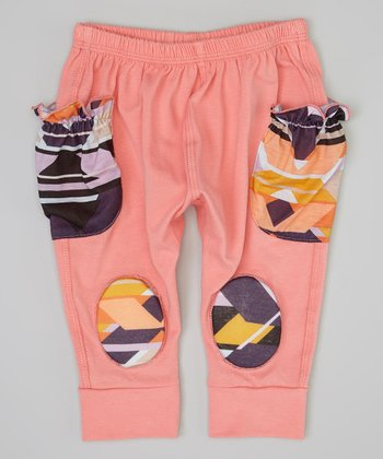 Salmon & Black Tribal Squeaker Pants - Infant