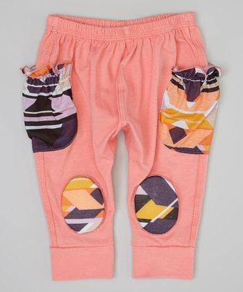Salmon & Black Tribal Squeaker Pants - Infant
