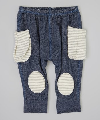 Blue & Gray Stripe Squeaker Pants - Infant