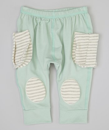 Mint & Gray Stripe Squeaker Pants - Infant