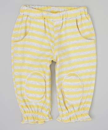 Yellow & Gray Ruffle Squeaker Pants - Infant