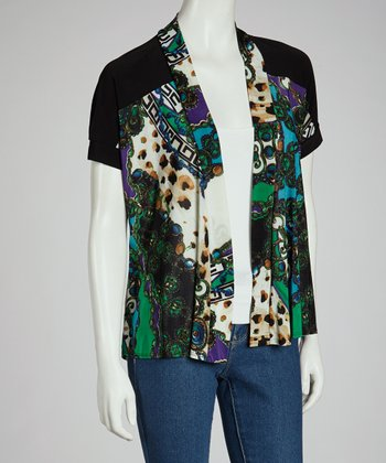 Green & Black Abstract Split-Back Cardigan