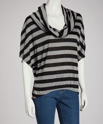 Black Stripe Cowl Neck Top