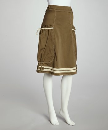 Olive & White Side-Pocket Skirt