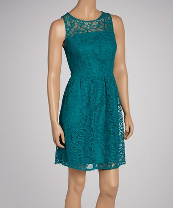 Teal Lace Sleeveless Dress