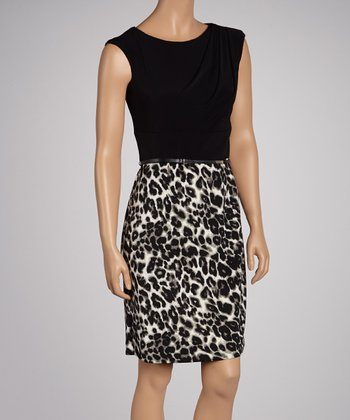 Black & Leopard Belted Dress
