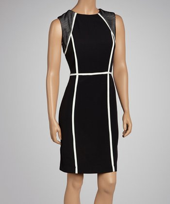 Black & White Trim Sleeveless Dress - Women