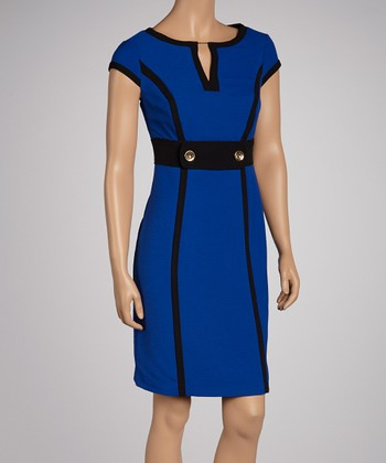 Royal Blue & Black Cap-Sleeve Dress