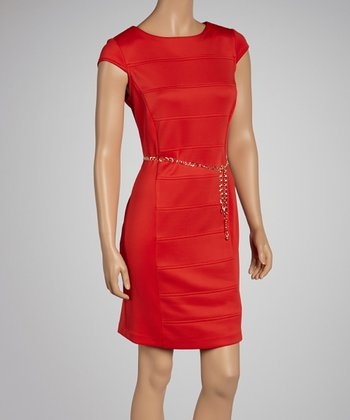 Coral Belted Cap-Sleeve Dress - Women