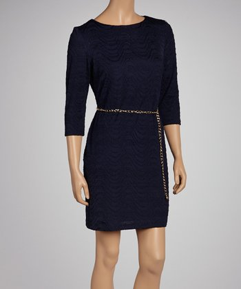 Navy Wave Belted Dress - Women