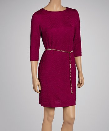 Boysenberry Wave Belted Dress - Women