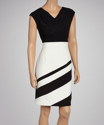 Black & Ivory Asymmetrical Stripe Dress