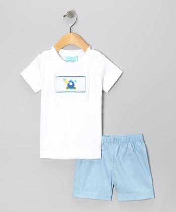 Blue & White Astronaut Smocked Tee & Shorts - Infant