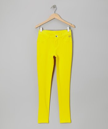 Yellow Zebra Heart Skinny Jeans - Girls