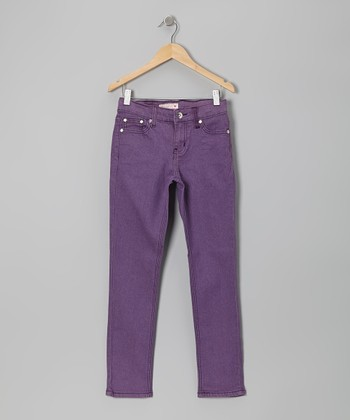 Purple Rhinestone Heart Skinny Jeans - Girls