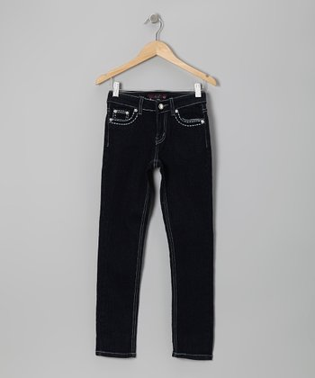 Dark Wash Embroidered Skinny Jeans - Girls