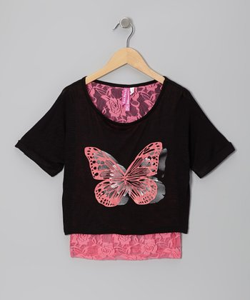 Black & Neon Rosy Pink Butterfly Layered Top