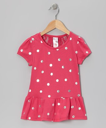 Fuchsia & Metallic Polka Dot Peplum Top - Toddler & Girls