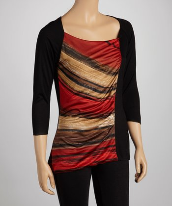 Black & Red Three-Quarter Sleeve Top