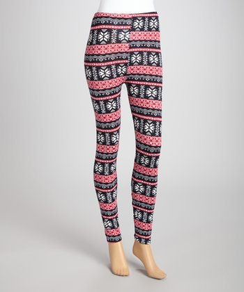 Red & Black Snow Leggings