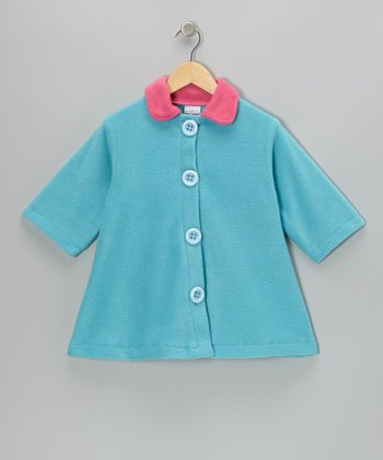 Aqua Contrast Fleece Swing Coat - Girls
